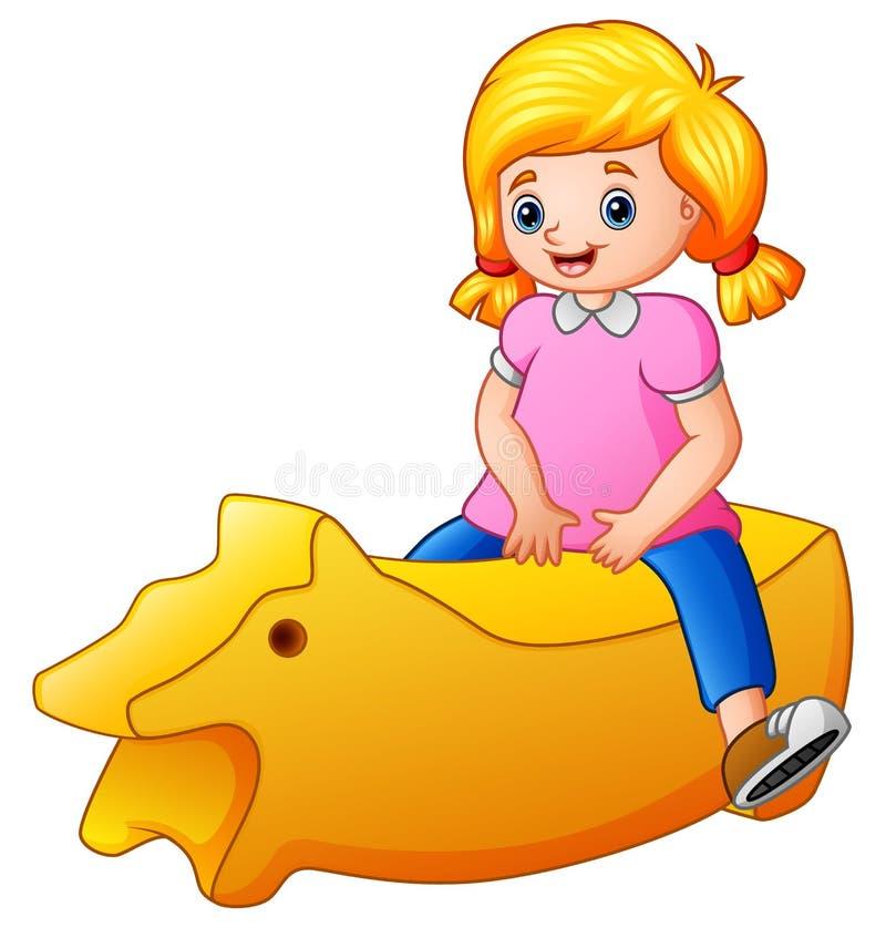 Petite fille montant un jouet jaune sur le fond blanc illustration stock