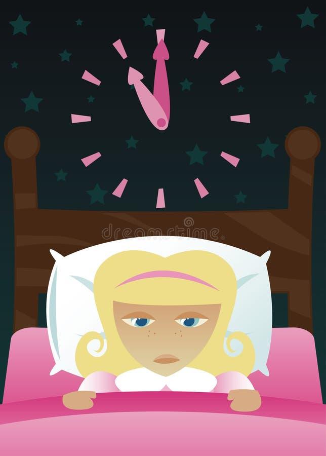 Petite fille obtenue l'insomnie illustration de vecteur