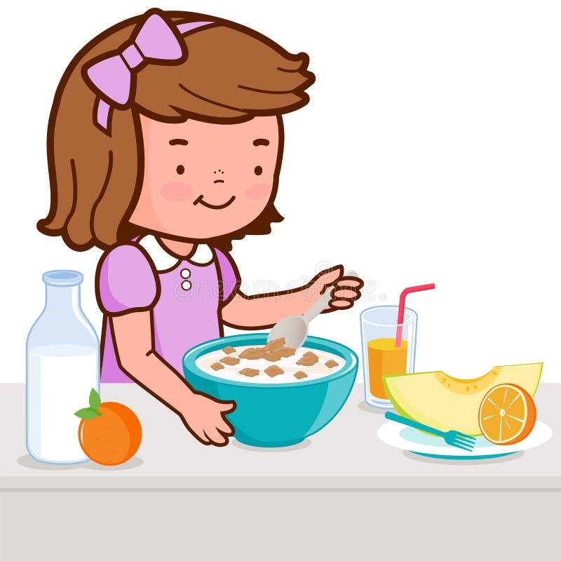Petite fille prenant le petit déjeuner illustration de vecteur