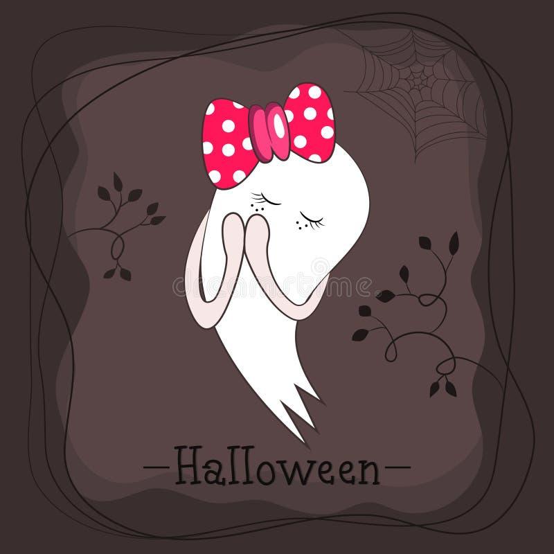 Petite fille rêveuse mignonne de fantôme avec l'arc rose illustration de vecteur