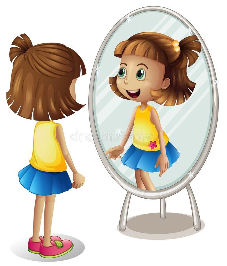 Petite fille regardant elle-même dans le miroir illustration de vecteur