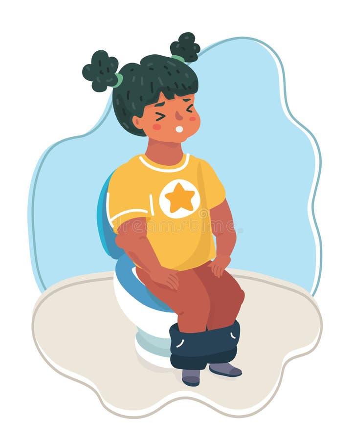 Petite fille s'asseyant sur la toilette illustration libre de droits