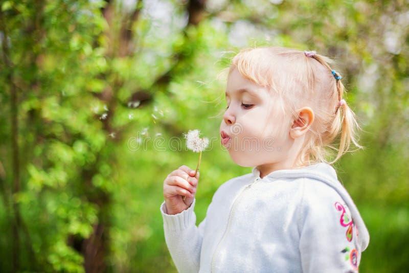 Petite fille soufflant un pissenlit photo libre de droits