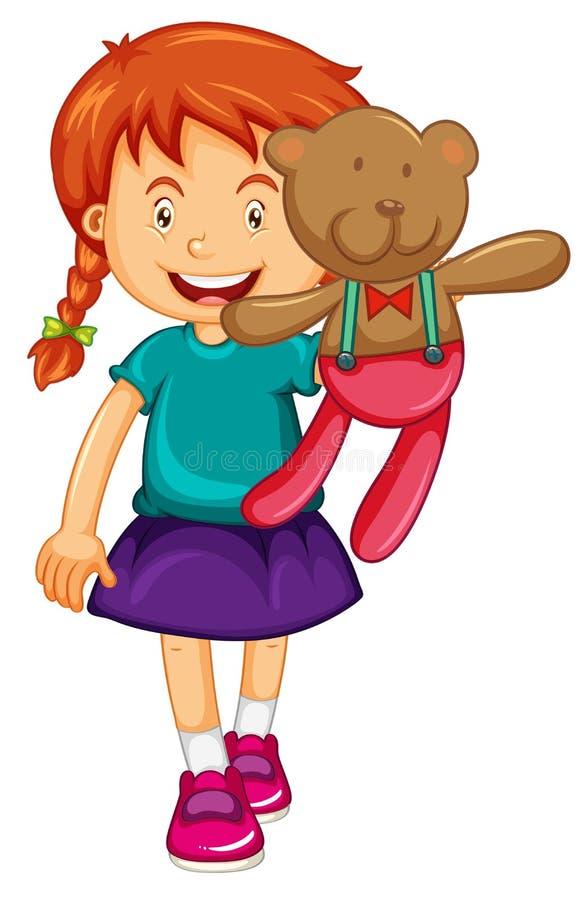 Petite fille tenant l'ours de nounours brun illustration stock