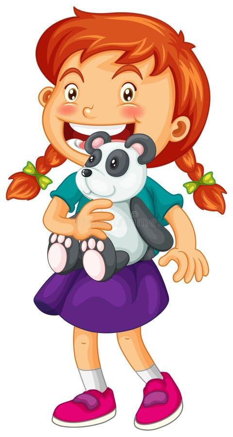 Petite fille tenant l'ours panda illustration stock