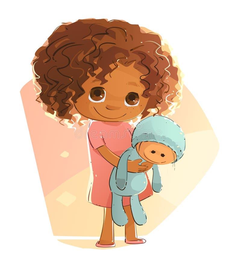 Petite fille timide illustration de vecteur
