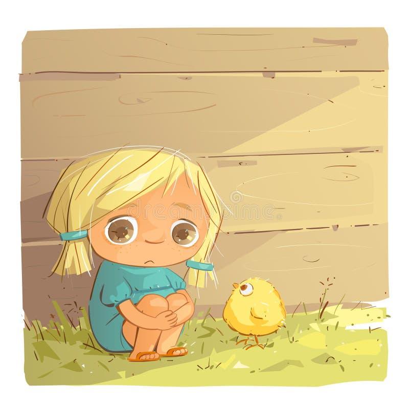 Petite fille triste illustration stock