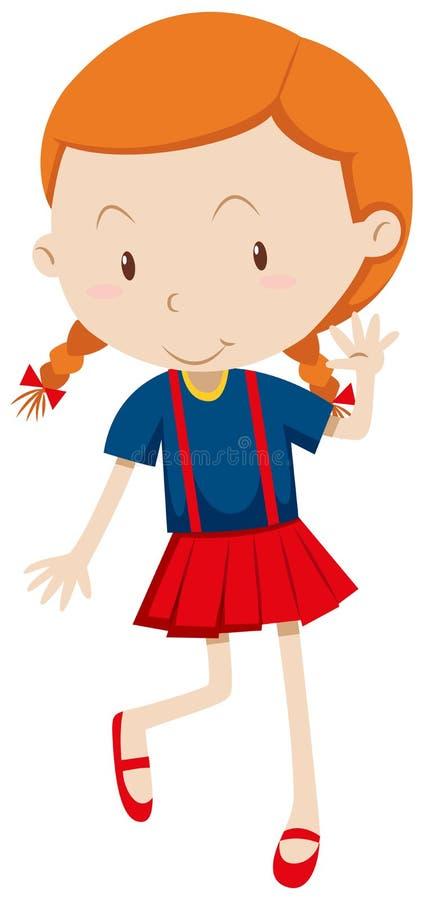 Petite fille utilisant la jupe rouge illustration de vecteur