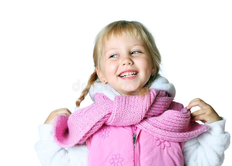 Petite fille utilisant une écharpe, Noël, hiver, gel photo stock