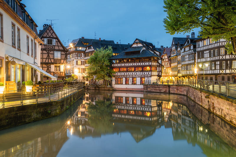 Petite-France historic area in the center of Strasbourg, France royalty free stock photography