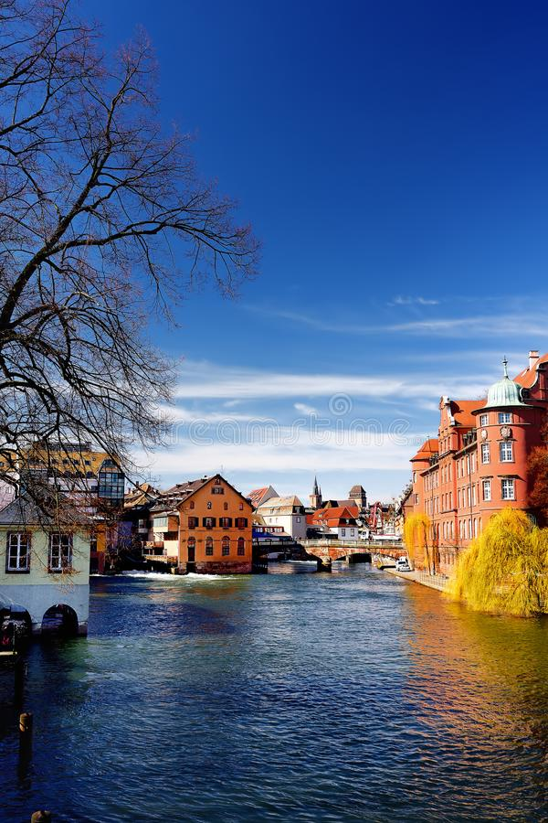 Petite France historic area of Strasbourg old town in spring or autumn sunny day royalty free stock photo