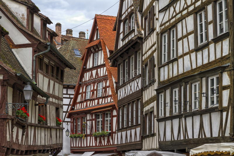 Petite France houses, Strasbourg. Historic quarter of Petite France, Strasbourg, France royalty free stock photos