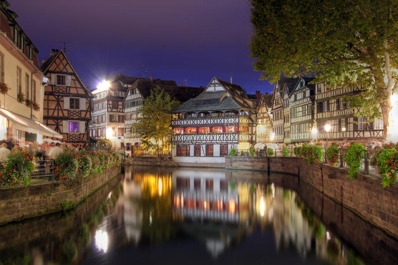 Petite-France at night, Strasbourg, France stock photo