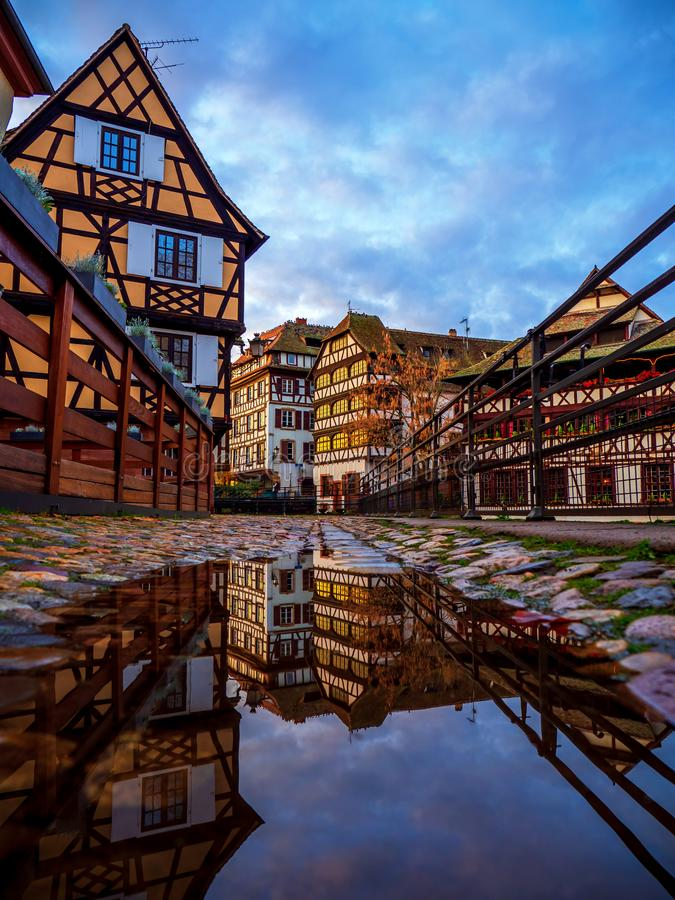 Petite France område i Strasbourg arkivfoto