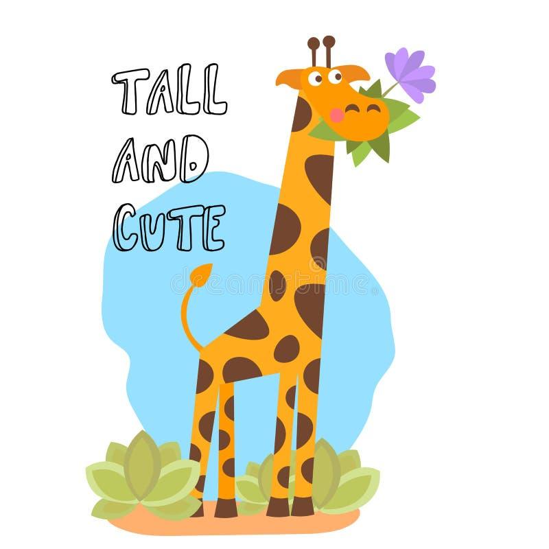 Petite girafe de vecteur de conception à la mode mignonne de bande dessinée avec l'herbe et la fleur dans la bouche Vecteur anima illustration libre de droits