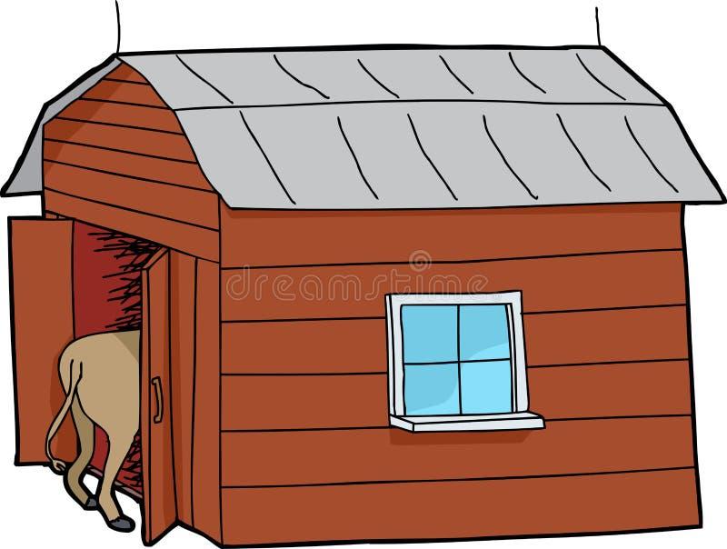 Petite grange avec l'animal illustration de vecteur