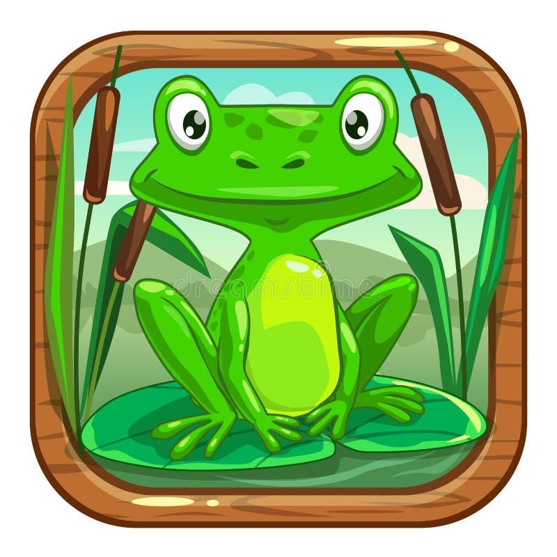 Petite grenouille verte se reposant sur la feuille illustration libre de droits