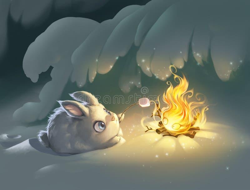 Petite guimauve pelucheuse mignonne de torréfaction de lapin avec l'aide du feu magique illustration libre de droits
