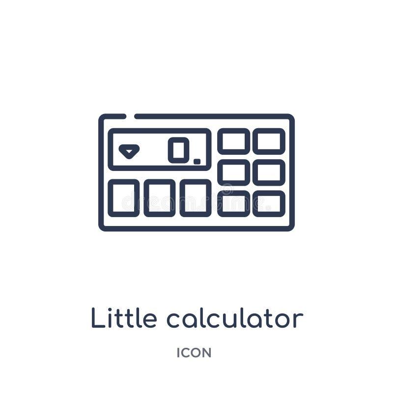 Petite icône linéaire de calculatrice de collection d'ensemble général Ligne mince petite icône de calculatrice d'isolement sur l illustration de vecteur