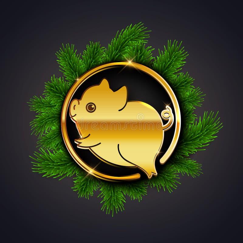 Petite icône mignonne de porc, conception 2019, horosco d'or de nouvelle année chinois illustration stock