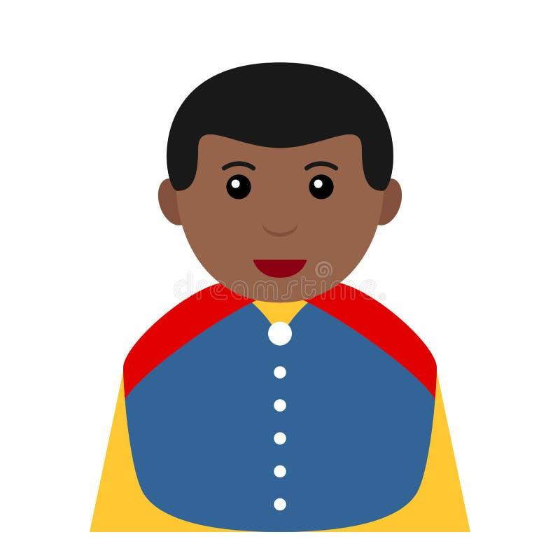 Petite icône noire de prince Charming Avatar Flat illustration libre de droits