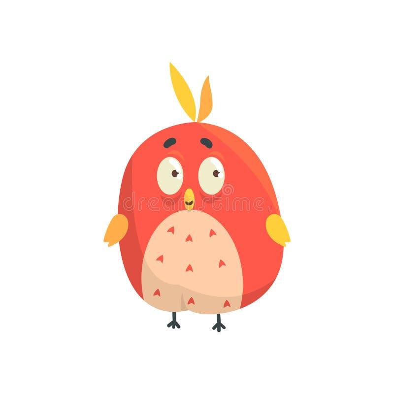 Petite illustration colorée drôle rouge mignonne de vecteur de caractère de forme ronde de poussin d'oiseau illustration de vecteur