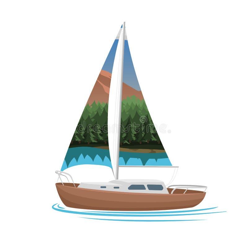 Petite illustration de vecteur de voilier Petit yacht avec la voile illustration de vecteur