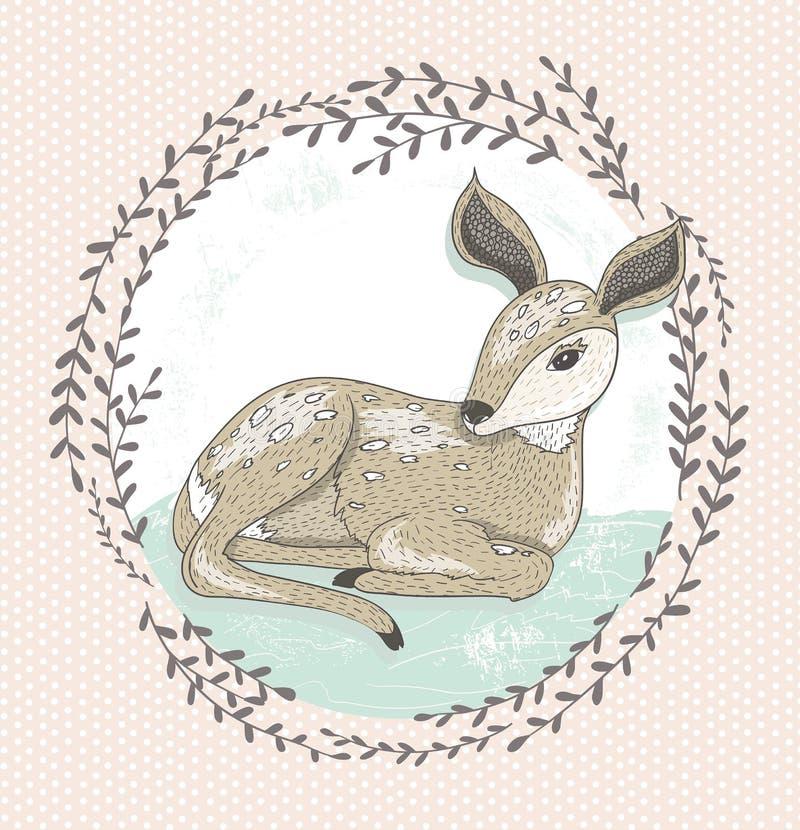 Petite illustration mignonne de cerfs communs illustration de vecteur