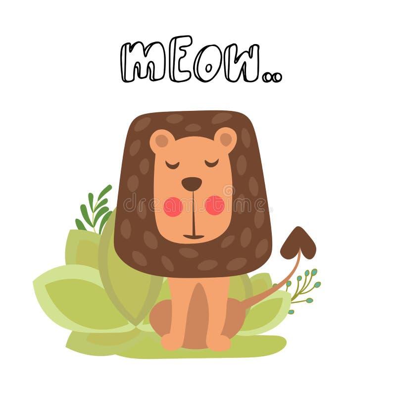Petite illustration mignonne de vecteur de lion Lion mignon se reposant dans le buisson de safari avec le lettrage de miaulement  illustration de vecteur