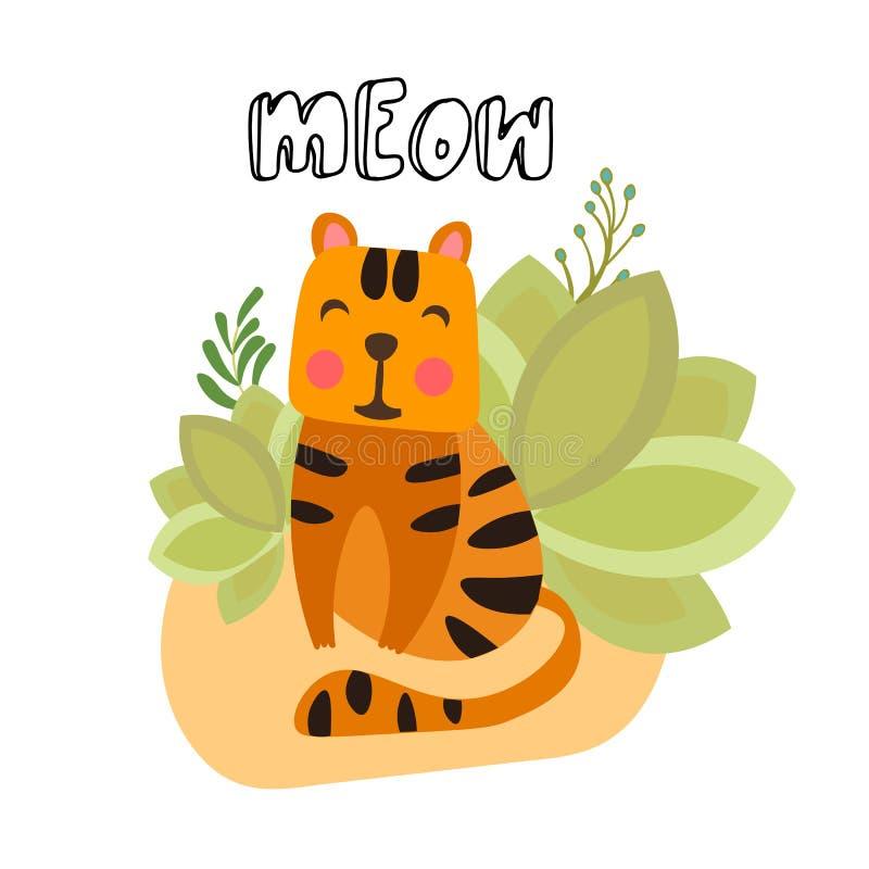 Petite illustration mignonne de vecteur de tigre Tigre mignon se reposant dans le buisson de safari avec le lettrage de miaulemen illustration libre de droits