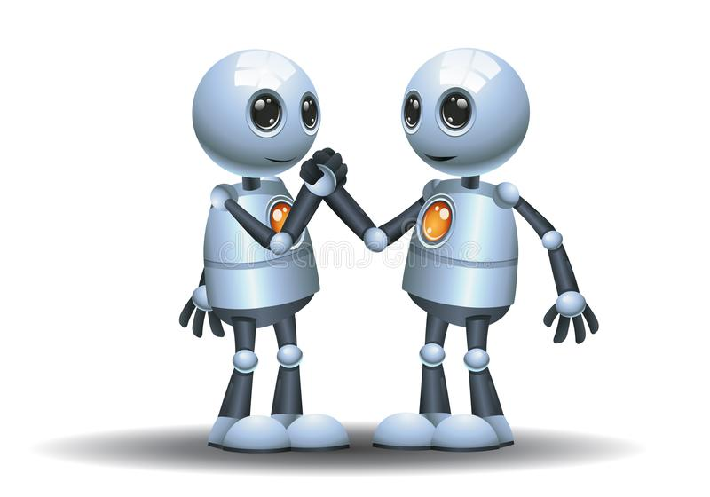 Petite image de poignée de main de compagnon d'équipe de robots illustration de vecteur