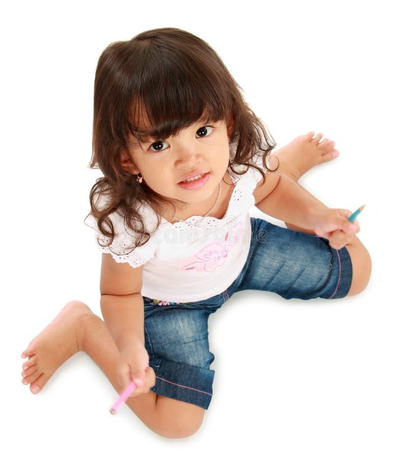 Petite jolie couleur de crayon de prise de fille images libres de droits