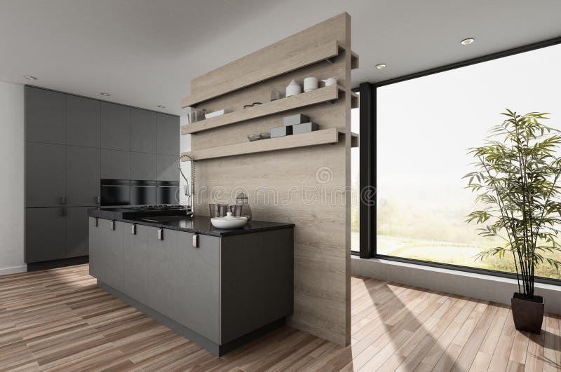Petite kitchenette moderne compacte illustration libre de droits