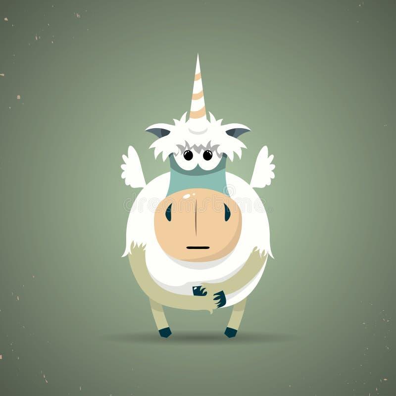 Petite licorne mythique magique avec un klaxon en spirale illustration libre de droits