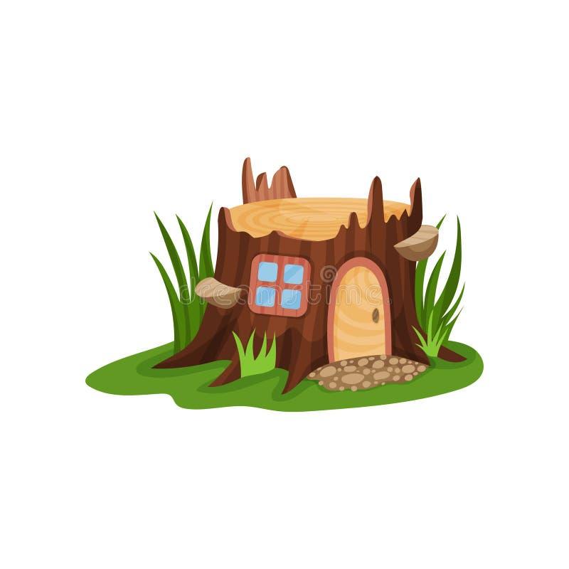 Petite maison de conte de fées sous la forme de vieux tronçon entourée par l'herbe verte grande Maison avec la porte et la place  illustration de vecteur