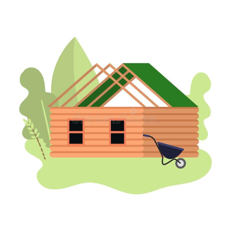 Petite maison en bois en construction avec le toit vert illustration de vecteur