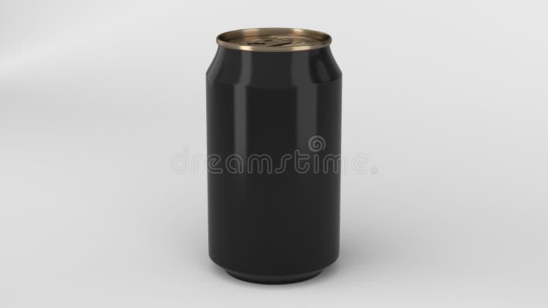 Petite maquette en aluminium vide de boîte de soude de noir et d'or sur le Ba blanc images stock