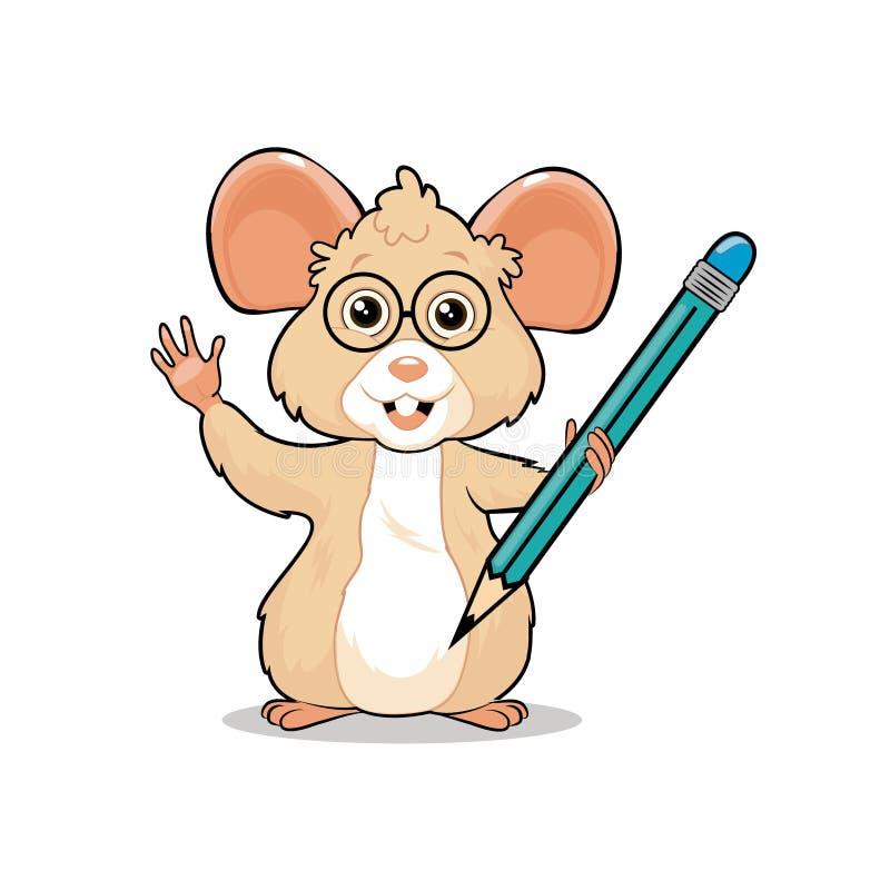 Petite mascotte amicale gentille intelligente de souris tenant un crayon photo stock