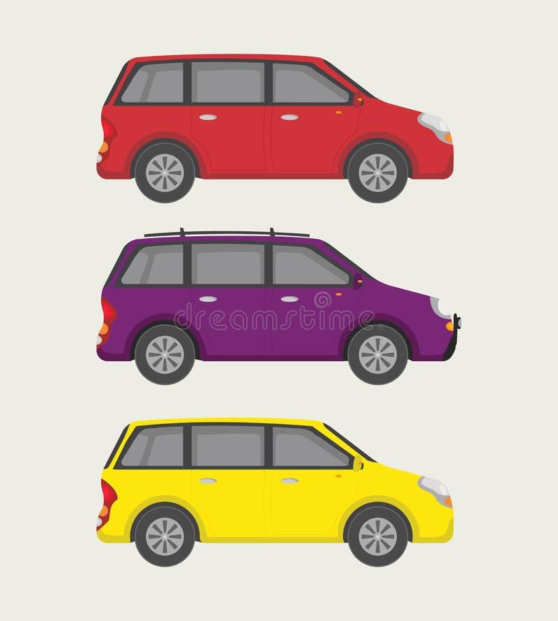Petite mini collection de voiture avec trois l'option - vecteur illustration de vecteur