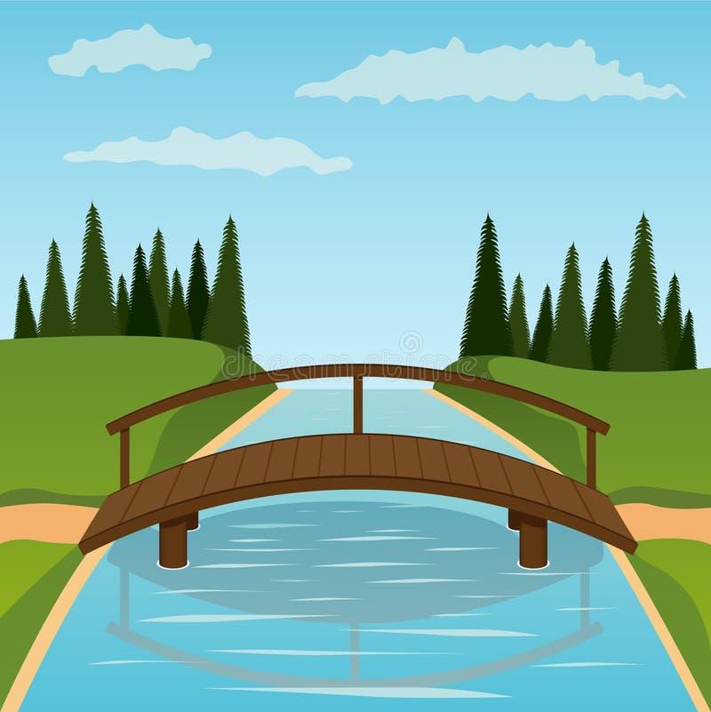 Petite passerelle en bois illustration libre de droits