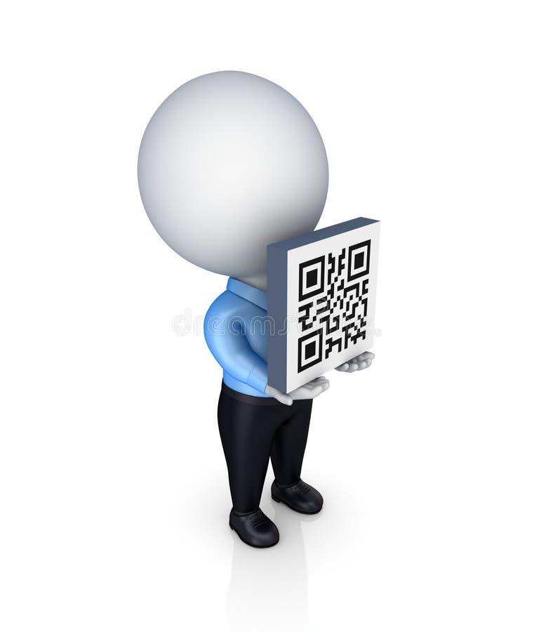 petite personne 3d avec un code de QR dans mains. illustration libre de droits