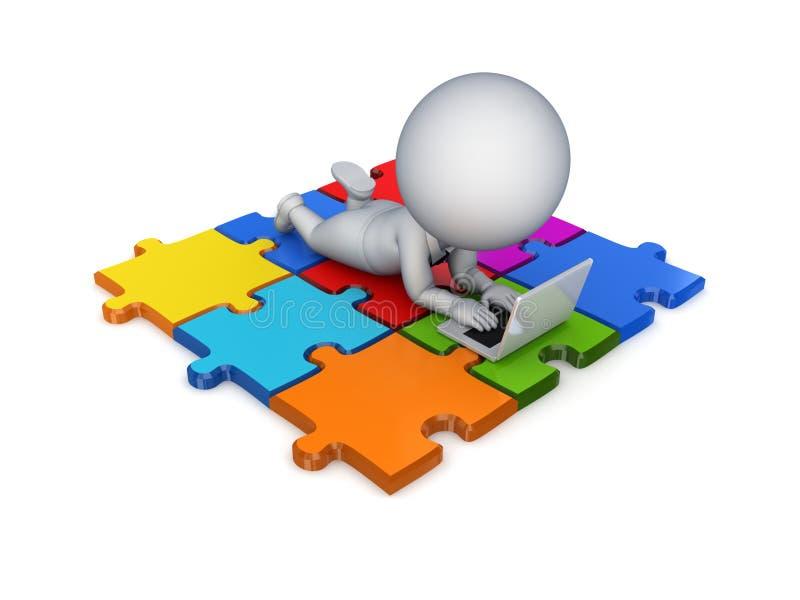 petite personne 3d se trouvant sur puzzles. illustration de vecteur