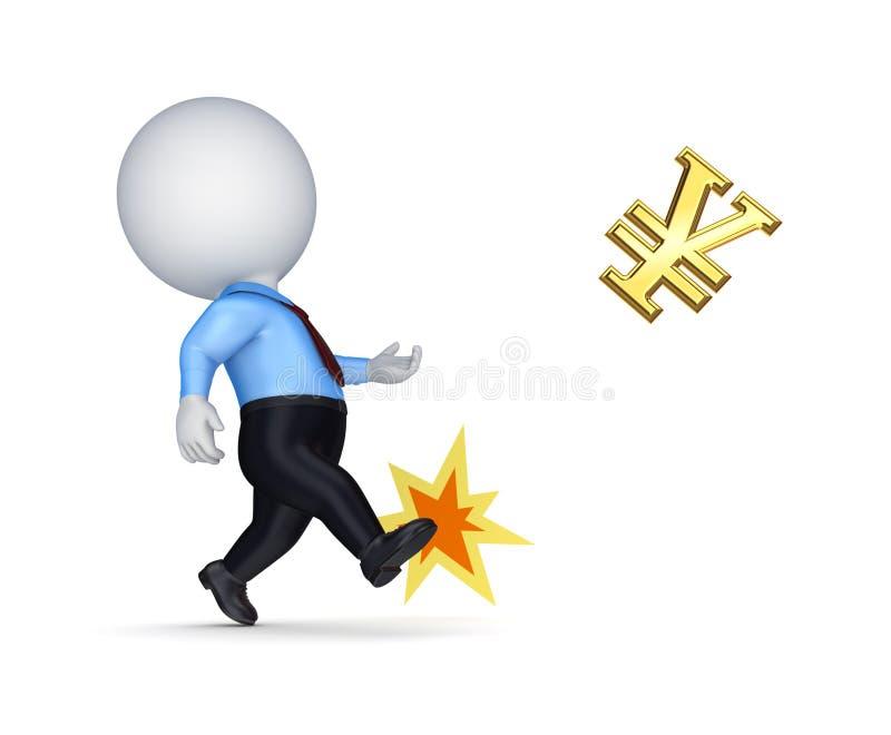 Petite personne donnant un coup de pied le signe d'or de Yens. illustration de vecteur