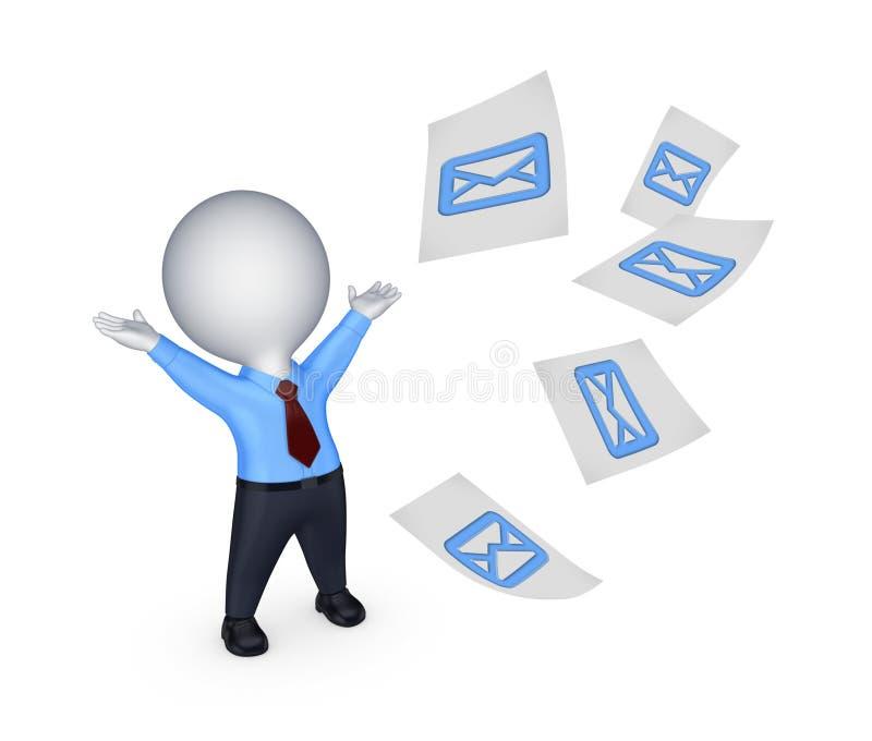 Petite personne heureuse avec le signe de l'enveloppe. illustration de vecteur