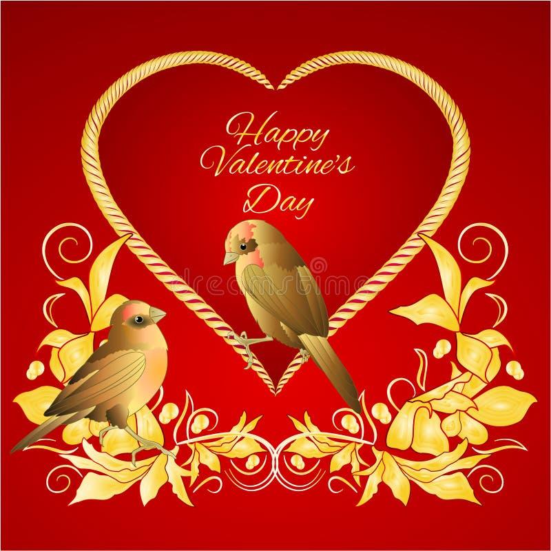 Petite place d'or d'or de valentines d'oiseaux et de feuilles de coeur pour l'illustration rouge de vecteur de cru de fond des te illustration libre de droits