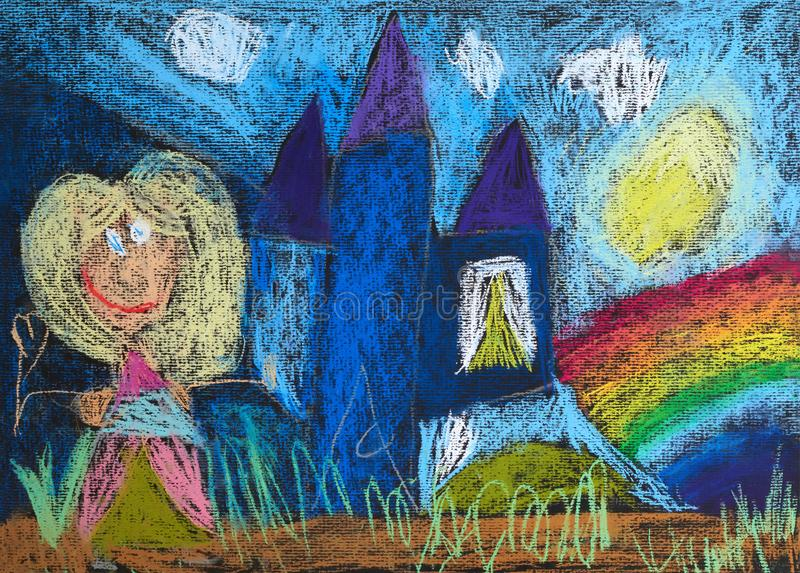 Petite princesse avec une baguette magique magique et son château illustration de vecteur