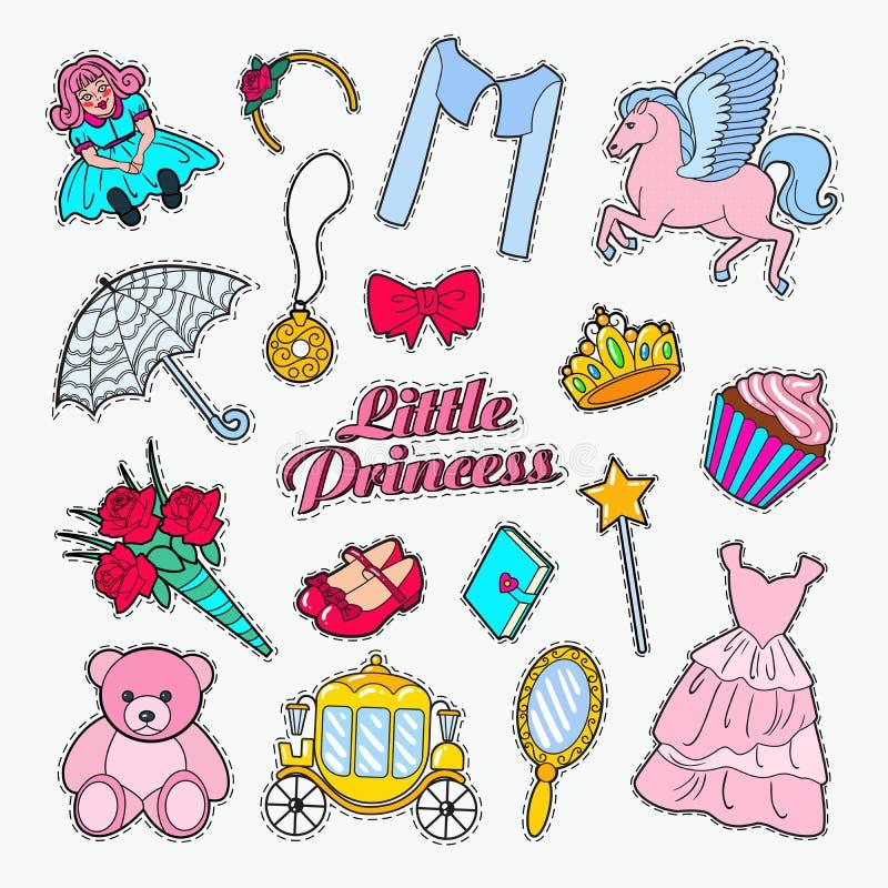 Petite princesse Doodle Ensemble d'autocollants, d'insignes et de corrections avec la licorne, la couronne et le petit gâteau illustration de vecteur