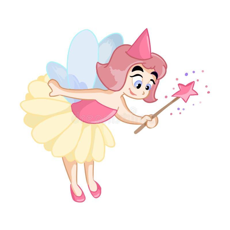 Petite princesse féerique mignonne avec la baguette magique magique illustration de vecteur
