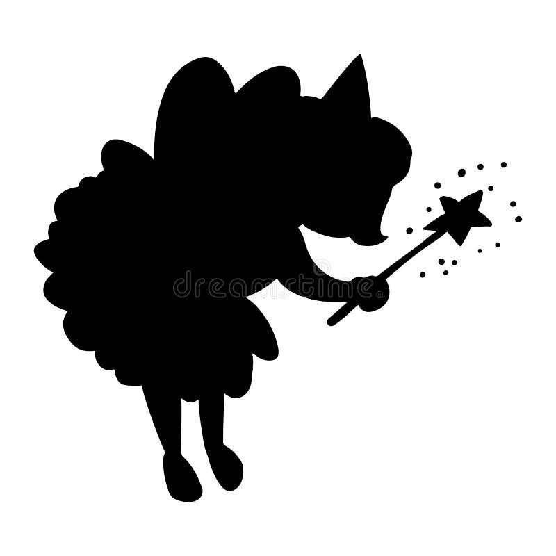 Petite princesse féerique mignonne avec la silhouette magique de noir de baguette magique illustration stock