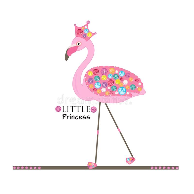 Petite princesse flamant Flamant de princesse ou de reine Diamants brillants colorés Conception de mode illustration libre de droits
